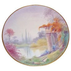 Pickard China Vellum Scenic Romantic Landscape Hand Painted Plate Artist Signed Challinor 8 1/4""