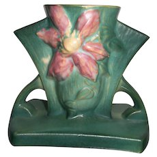 Roseville Pottery Clematis 192-5 Three Hole Planter Green  Excellent #1