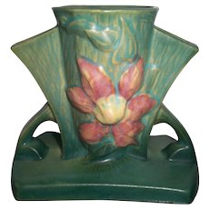 Roseville Pottery Clematis 192-5 Green Three Hole Planter Vase Excellent #2