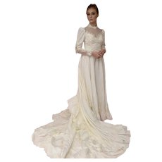 Victorian Style Ivory Taffeta Wedding  Gown with Train