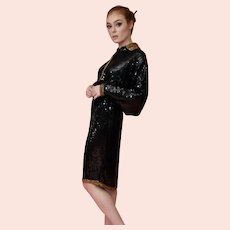 Late 20th century Riazee Black & Gold Sequin Silk Cocktail Dress