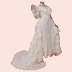 Early 20th Century  Victorian Style White Wedding Gown