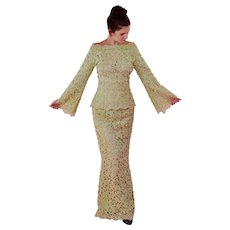 Vintage Green Lace With pearls and Sequins Maxi Dress