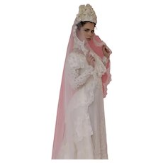 Early 20th Century ,Victorian Style Bridal Wedding 10'Veil and Headpiece / Hat