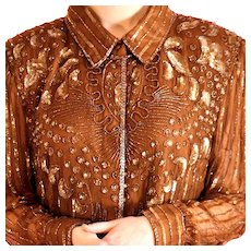 Vintage, Carina by Barry Lee, Ornate Copper Silk Jacket/ Blazer with beading