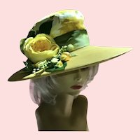 Mid 20th Century ,Restyled Wide Brim Yellow Synthetic straw , Cabbage Rose Hat