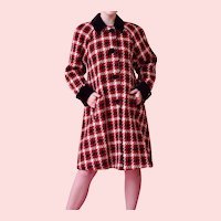 DONNYBROOK , Red,White and Black Wide Houndstooth Wool Coat W Velvet