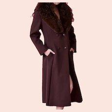 Alorna Premier , Chocolate brown wool coat Genuine Fox fur collar
