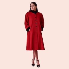 Circa 1950, Leslie Fay Red Wool Cashmere Coat