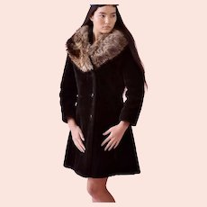 Mid20th Century, Black Thick plush Faux fur Coat Genuine Raccoon Collar