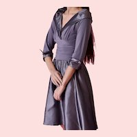 Mid 20 th Century, Eliza J , Silver Gray cocktail Retro  Dress
