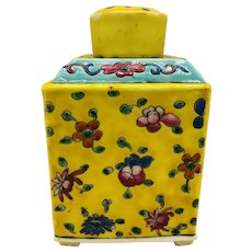 Antique Chinese Enameled Yellow w/ Flowers Porcelain Tea Caddy