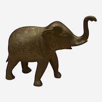 """Vintage Bronze Elephant Made in India 10.5"""" Long / 7"""" High"""