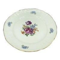Vintage Pink Blue Purple Floral Bernadotte Czechoslovakia Porcelain China Desser