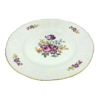"Bernadotte of Czechoslovakia China Floral Pattern Dinner Plate Gold 10-1/2"""