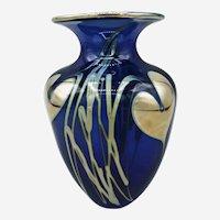 """Cobalt Blue Gold Patterned Vase 5.5"""" H"""