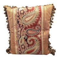"Antique Paisley Pillow with tassel trim 18""x16"""