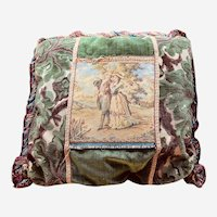 Large Vintage Tapestry Pillow with Scene of Two Lovers in Garden