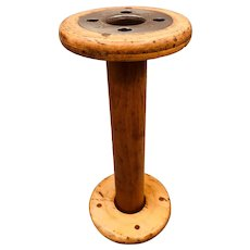 Vintage Wooden / Wood Large Industrial Textile Spool Bobbin 11.5""