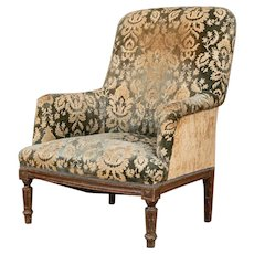 Antique Upholstered Armchair in Velveteen Tapestry