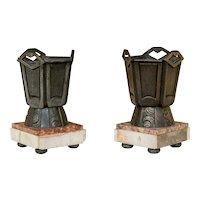 Pair of Diminutive Art Deco Bronze Vases on Marble Bases