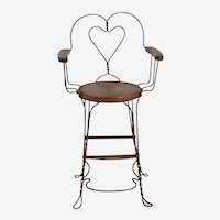 Antique Wrought Iron Ice Cream/Billiard Chair Heart Pattern