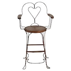 Antique Wrought Iron Ice Cream/Billiard Chair Heart Pattern