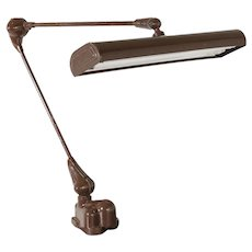 Brown Industrial Work/Desk Lamp With Table Fixation