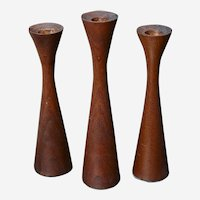 Vintage Teak Candle Holders Set of 3 Danish design - Mid Century