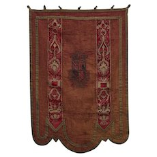 Antique Silk and Brocade Embroidered Coat of Arms