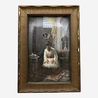"Antique Leonardo de Mango Oil on Board Painting ""At Prayer"" Signed & Dated"