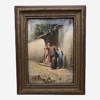 "Antique Leonardo de Mango Oil on Board Painting ""At the Garden Gate"" Signed"