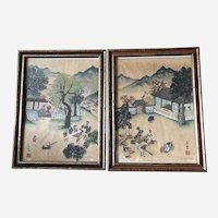 Korean Wood Block Prints by Sang Keun Lee Set of 2