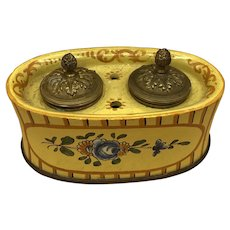 Antique Bronze Lids French Faience Inkwell Hand Painted Flowers 19th Century