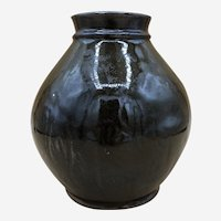 "Vintage Studio Pottery Vase Brown - 6.5"" tall - Mystery Marks"