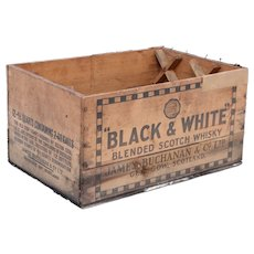 Rare Antique BLACK & WHITE Whiskey Wooden Shipping Crate Box 17""