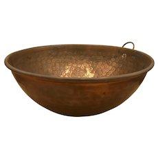 "Vintage English Battle Brand British Birmingham Hammered Solid Copper Bowl 12.5""d"