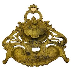 Antique French Bronze Inkwell Inkstand Neo-Classical