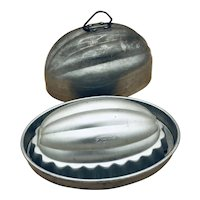 Vintage Mirro Set of Two aluminum molds, oval / melon shape