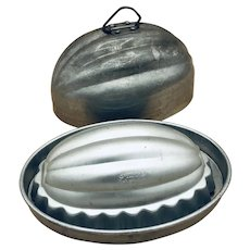 Vintage Mirro Set of Two aluminum molds, oval / melon shape
