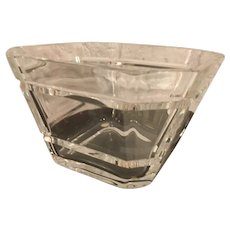 KOSTA BODA Sweden Crystal Square Bowl Signed LINDBLAD 58424