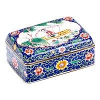 Antique Chinese Enamel Cloisonné Hinged Dresser Box