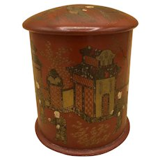 Antique Hand-Painted Asian/Chinese Tin Tea Caddy Box w/Double Lid
