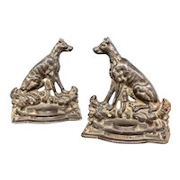 """Pair of Antique Cast Iron Hound Dog Bookends """"A Sportsman's Friend"""""""