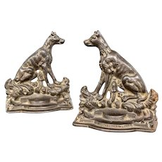 "Pair of Antique Cast Iron Hound Dog Bookends ""A Sportsman's Friend"""