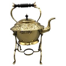 Vintage Brass Teapot with Stand