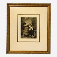 """Framed Herm Kaulbach Pinx 1898 Lithograph titled """"The Fish"""""""