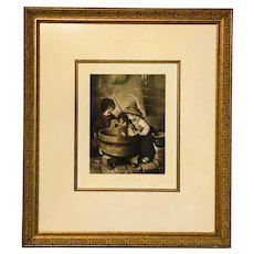 "Framed Herm Kaulbach Pinx 1898 Lithograph titled ""The Fish"""