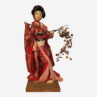 """Vintage Hand Made Large 23"""" Japanese Paper Wood Geisha Doll with Wood Base"""