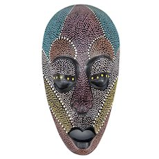 Hand-Carved and Painted Wooden West African Mask